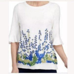 Joseph A. Floral Embroidered Mesh Overlay Blouse